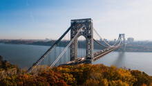 Aerial Of George Washington Suspension Bridge Over Hudson River At Autumn Sunrise - Interstate 95, US Route 1 & 9 - Fort Lee, New Jersey & Bronx, New York City, New York