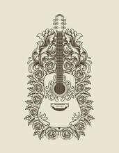 Illustration Vector Acoustic Guitar With Flower Ornament