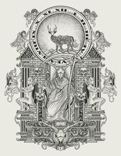 Illustration Vector The King Of Satan Monochrome