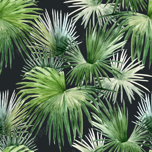 Beautiful vector seamless pattern with watercolor tropical palm leaves. Stock illustration. - fototapety na wymiar