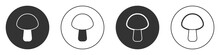 Black Mushroom Icon Isolated On White Background. Circle Button. Vector