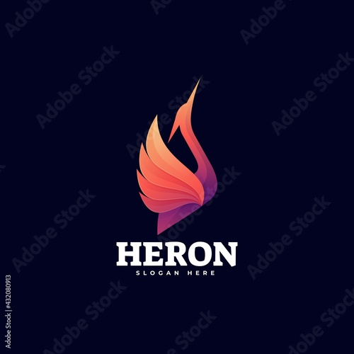 Naklejka premium Vector Logo Illustration Heron Gradient Colorful Style.