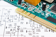 Circuit Board With Transistors, Resistors, Capacitor. Diagram Of Electronics
