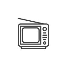 Retro Tv Line Icon.