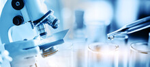 Scientist Or Chemist Using Microscope With Laboratory Glassware, Science Research And Development Concept, Dropping Chemical Liquid To Test Tube In Lab.