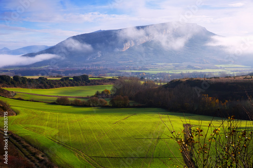 Aerial landscape of Navarre valleys and hills, North Spain - fototapety na wymiar