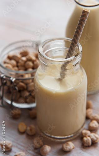 Obraz Chick peas milk with chick peas - fototapety do salonu
