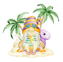 Cute Gnome, Sitting On An Inflatable Turtle, Against The Background Of Sand And Palm Trees. A Watercolor Concept On An Isolated Background, In A Cartoon Style.