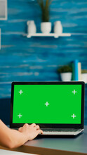 Freelancer Woman Searching Business Advertising Using Isolated Pc Standing In Home Office Studio. Caucasian Woman Working With Laptop Computer With Mock Up Green Screen Chroma Key