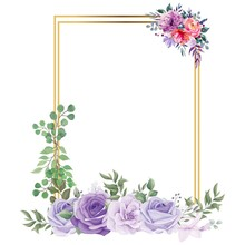 Beautiful Square Golden Wedding Photo Frame Vector Illustration, Golden Photo Frame, Wedding Flowers, Romantic, Love, Red Roses, Green Leaves, Rose, Leaf, Multicolor Flower, Blue And White Roses