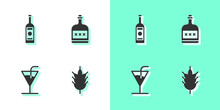Set Hop, Glass Bottle Of Vodka, Cocktail And Alcohol Drink Rum Icon. Vector