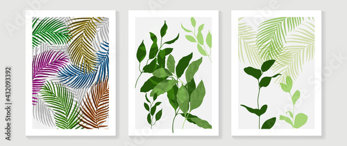 Abstract art leaf background vector. Organic abstract art style wallpaper with leaves and floral pattern, paint splatter watercolor in warm colors design for poster, cover, wall art, packaging design. - fototapety na wymiar