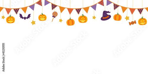Stampa su Tela ハロウィンの吊るし飾りのベクターイラストフレーム背景