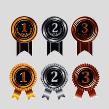 1st, 2nd, 3rd Sports Awards Three Medals, Gold, Silver And Bronze Isolated On A Black Background, Medal Set Vector With Ribbon, Sports Medal Set Vector.