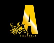 The Initial Letter A Is In The Form Of A Logo Decorated With A Batik Pattern. Beautiful, Luxurious. Gold Monogram Logo Ornament. Batik Fonts