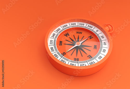 Turquoise Compass 3d Render illustration. - fototapety na wymiar