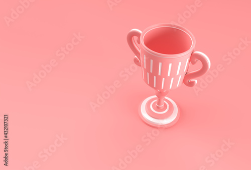 Obraz 3D Render Trophy Cup isolated on Color Background. - fototapety do salonu