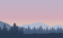Bright Morning Atmosphere With Beautiful Mountain Views From The Edge Of The City. Vector Illustration