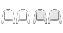 Fisherman Cropped Sweater Technical Fashion Illustration With Rib Crewneck, Relax Body, Waist Length, Knit Trim. Flat Jumper Apparel Front, Back, White Grey Color Style. Women Men Unisex CAD Mockup