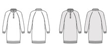 Dress Polo Sweater Technical Fashion Illustration With Rib Henley Neck, Long Raglan Sleeves, Relax Fit, Knee Length. Flat Garment Apparel Front, Back, White Grey Color Style. Women, Men CAD Mockup