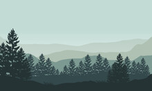 Magnificent View Of The Mountain Silhouettes With The Forest From The Outskirts Of The City In The Morning. Vector Illustration