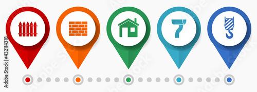 Fotografering Home construction, building concept vector icon set, flat design pointers, infog