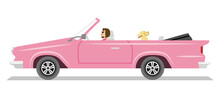 Pink Long Convertible Car ,side View - Young Woman And Dog Seated