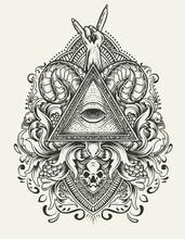 Illustration Vector Illuminati Eyes With Antique Engraving Ornament