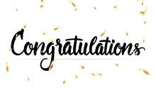 Congratulations On Graduation With Gold Confetti , Vector Illustration EPS 10
