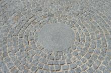 Circular Granite Cobblestone Floor In A Garden