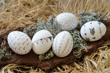 Close-up Of Five Decorated Easter Eggs On Bark In A Bird's Nest