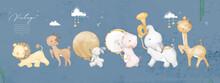 Animal Painting Cute Wildlife Watercolor Parade Music Celebration Fun Day