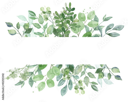 Leaves frame border. Watercolor hand painting floral geometric background. Leaf, plant, branch isolated on white. - fototapety na wymiar
