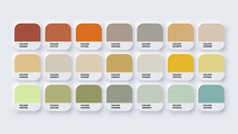 Colour Palette Catalog Samples Yellow And Green In RGB HEX. Neomorphism Vector