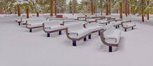 Snow Covered Benches At The Amphitheater, Kaibab Lake, Kaibab National Forest, Arizona, USA