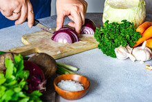 Woman Slicing A Red Onion And Preparing Vegetables