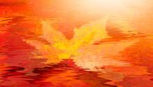 Red Autumn Leaf Underwater At Sunset