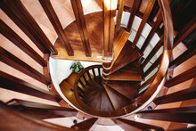 View Of Wooden Spiral Staircase