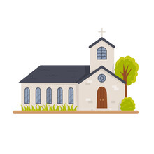 Christian Church Building Isolated On White. Municipal Public Religious Architecture Silhouette. Modern Stylish Monastery, Front View. Holy Traditional Symbol. Vector Cartoon Flat Illustration