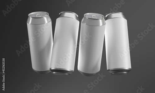 Two aluminum cans in the air - fototapety na wymiar