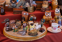 Vintage Colorful Clay Figuresof Birds And Animals In The Vintage Market