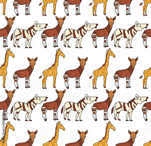 Naklejka premium Endless texture with cute funny animals living in Africa. Seamless pattern for kid design.