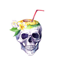 Human Skull With Frangipani Flowers, Coconut With Cocktail Straw. Watercolor For Unusual Exotic T Shirt Design