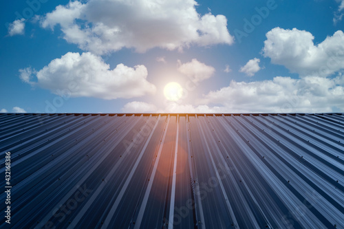 Fototapeta Metal sheet roof for industrial buildings and construction. Resistant to heat, sunlight obraz