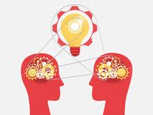 Due Menti Che Condividono Idee E Ingegno Attraverso Meccanismi Meccanici