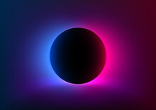 Abstract Futuristic Background With Vivid Neon Blue Pink Light Behind The Black Circle. Eclipse Concept. Design Of Banner, Poster, Flyer For Cybersport, And Advertising. Vector