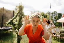 Woman Wearing Midsummer Wreath