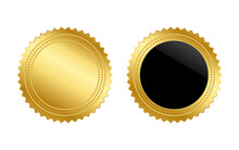 Vector Illustration Of Gold Seal. Set Of  Gold And Black Badge Emblem On Isolated Background.