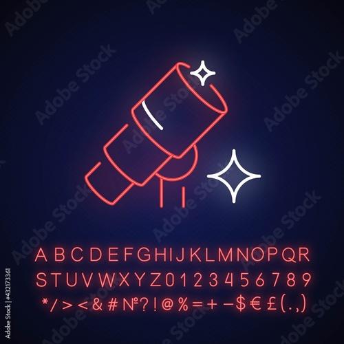 Canvas Telescope neon light icon