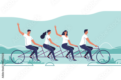 Group of young people riding a tandem bike. The concept of teamwork. Vector illustration. - fototapety na wymiar
